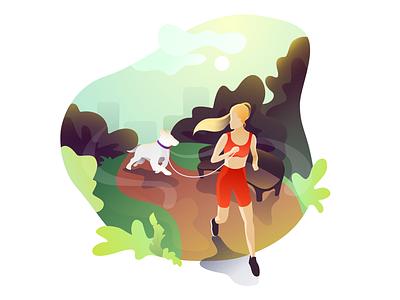 Morning run sport trees sunrise vector illustration dog park morning running run