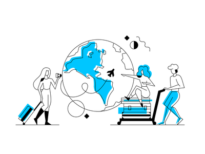 Traveling booking airport fly clean travel planet flat dribbble design vector illustration