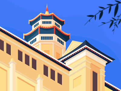 The Museum of Vietnamese History flat style drawing design vector art illustrator vector isometric museum illustration building