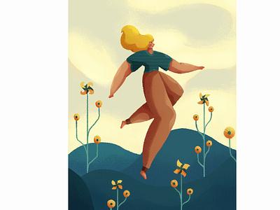Pinwheel World character illustration grain and noise texture photoshop illustration world girl pinwheel