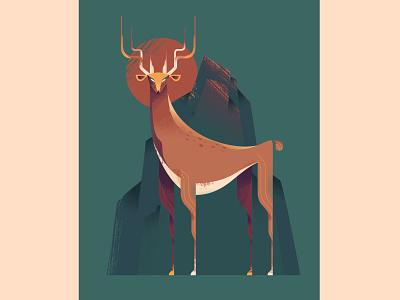 Deer adobeillustrator vector art illustrator illustration mountain deer