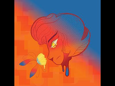 Portrait illustration vector art illustrator flower portrait