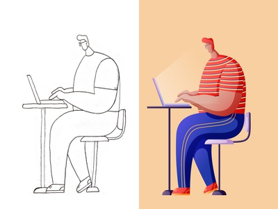 Character Illustration - Working