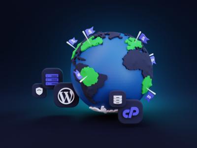 Earth web hosting design minimal website clean illustration blender 3d ilustration 3d art 3d
