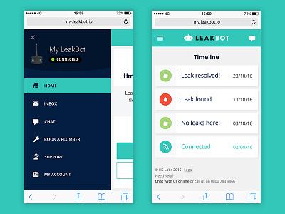 Nav menu and timeline screens responsive web mobile ui technology product iot app