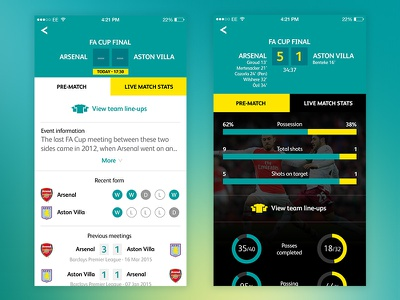 Stats football stats dashboard infographics sport iphone mobile ui app