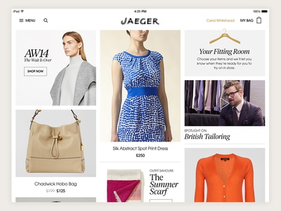 Home ecommerce fashion ipad mobile ui app