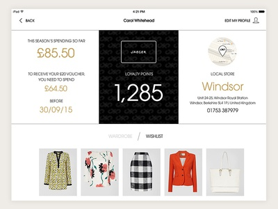 Loyalty ecommerce fashion ipad mobile ui app