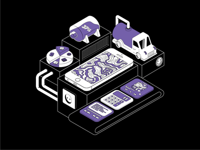 02 | Phone life black and white black charge isometry truck car purple ui art vector illustraion iphone phone