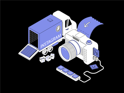 03 | Import to Instagram camera design illustration art vector ui isometry post instagram import lightroom photoshop truck photo blue blackandwhite