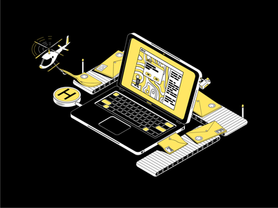 04 | Modern Post Office work yellow black and white factory computer laptop camera helicopter illustration design isometry art vector post office post mail