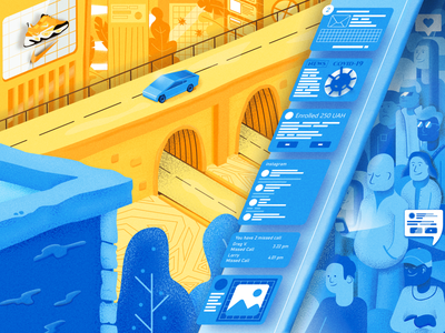 Big city life art vector illustration covid-19 grain town city cybertruck people e-mail bridge virus messages news nike tesla character illustraion covid