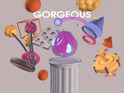 Gorgeous illustration figure geometry scene render c4d cinema 4d 3d art 3d typography branding sphere