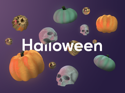 Happy Halloween spooky skull pumpkin cinema 4d c4d 3d typogaphy warmup dribbbleweeklywarmup halloween