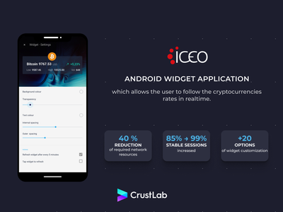 Iceo android widget application cryptocurrency fintech financeapp uxui uxdesign uidesign ux ui design casestudy appillustration appdevelopment appdesign mobiledesign
