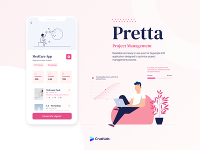 Pretta - Project Management iOS app cleandesign materialdesign flatdesign appillustration mobiledesign appdevelopment mobiledevelopment projectmanagemenetapp pretta iosdevelopment iosapp