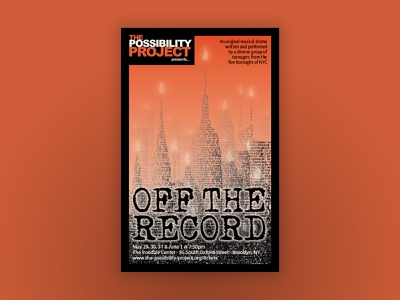 """""""Off the Record"""" Theatrical Key Art theater posters key art theater design"""