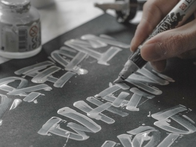 Lettering in progress