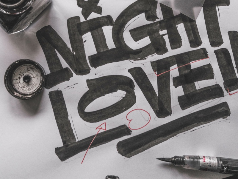 """Night Lovell"" - Sketch behindthescenes graphic design process sketches sketch calligraphy lettering graphic art typography type snoozeone snooze illustration design"