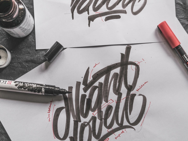 """Night Lovell"" - Sketch II branding logo vector behindthescenes graphic design process sketches sketch calligraphy lettering graphic art typography type snoozeone snooze illustration design"