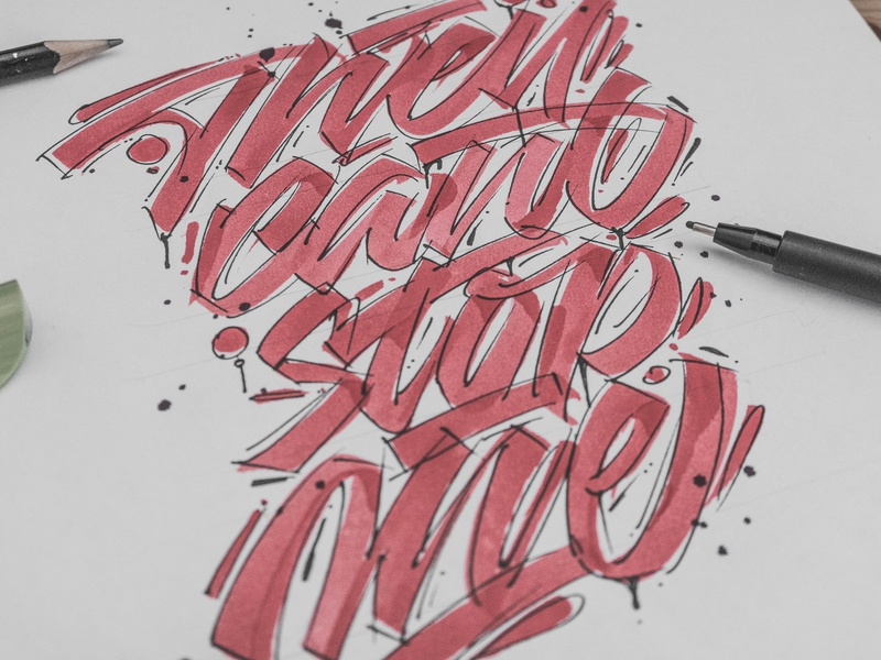 They can't stop me - lettering behindthescenes graphic design process sketches sketch calligraphy lettering graphic art typography type snoozeone snooze illustration design