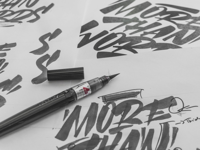 """More than words"" - sketches behindthescenes graphic design process sketches sketch calligraphy lettering graphic art typography type snoozeone snooze illustration design"