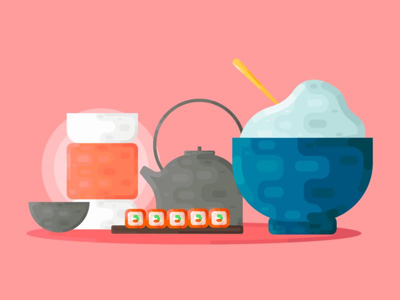 Sushi sushi branding logo vector minimal illustrator illustration icon flat design art