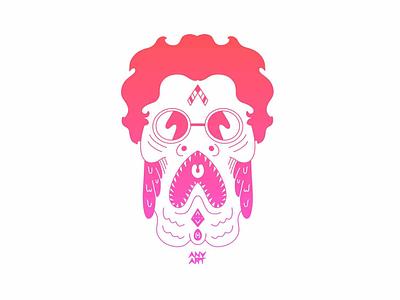 Fish woman style design cartoon gradient teeth monster character fish