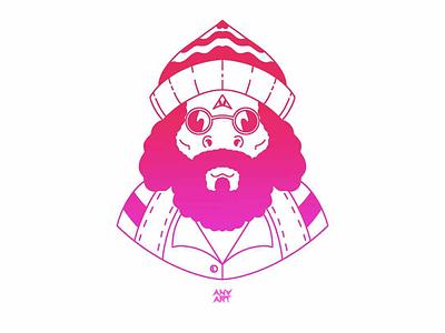 Gradient guru procreate trippy meditation chi guru red pink cartoon gradient character