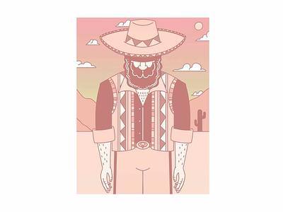 El Caballero mustache western sombrero gradient orange cactus desert sun sunset style character mexico