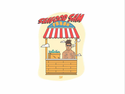 Seafood Sam fish comedy funny character art music style long beach hip hop rap