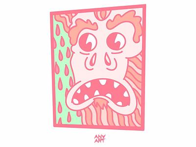 Gorilla knuckles trippy acid cartoon style character bigfoot red green color design gorilla