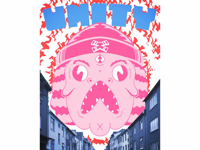 Unity fish blue style pink color character photoshop design fish