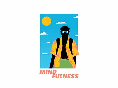 Mindfulness poster graphics logo shirt hawaiian style sun soul body mind blue green yellow