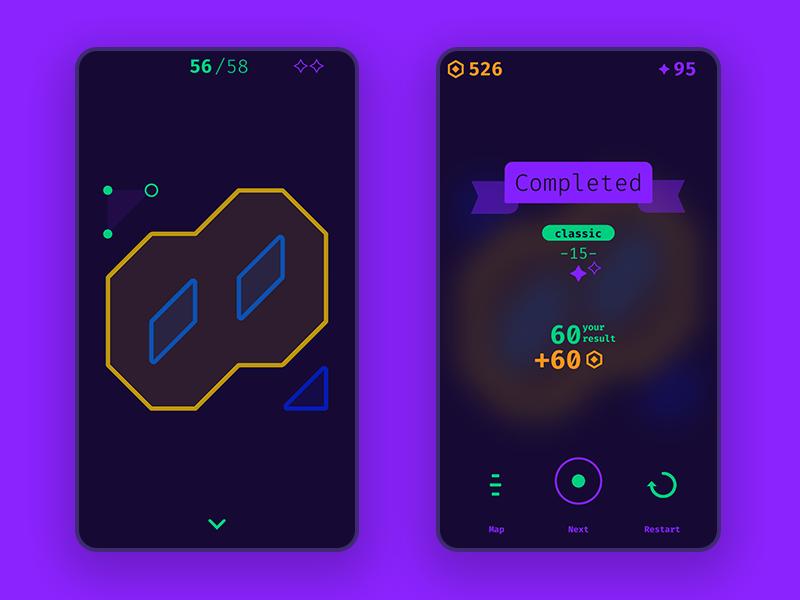 Dot/Shape logic game flat ui design minimalism minimalistic minimal ui design flat mobile completed winner geometry game logic gui ui