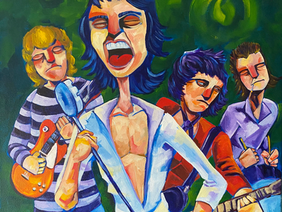 Ain't nothin like a rollin stone. painting editorial illustration rolling stones acrylic