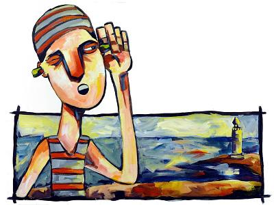 Swimmer's Ear canvas editorial art painting acrylic illustration