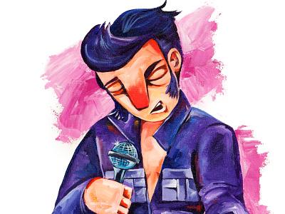 Elvis Illustration canvas elvis presley acrylic painting illustration