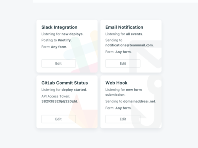 Integrations (2.0 Sneak Peak) netlify slack email notifications integrations app web cards