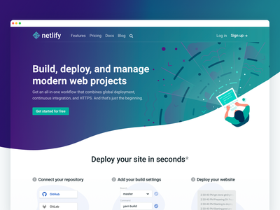 New Netlify Site: Home illustration gradients waves home page marketing landing