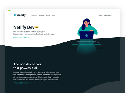 Netlify Dev: Marketing page ui illustration waves dev landing netlify marketing