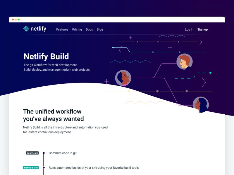 Netlify Build: Marketing page home page illustration wave header hero landing netlify website