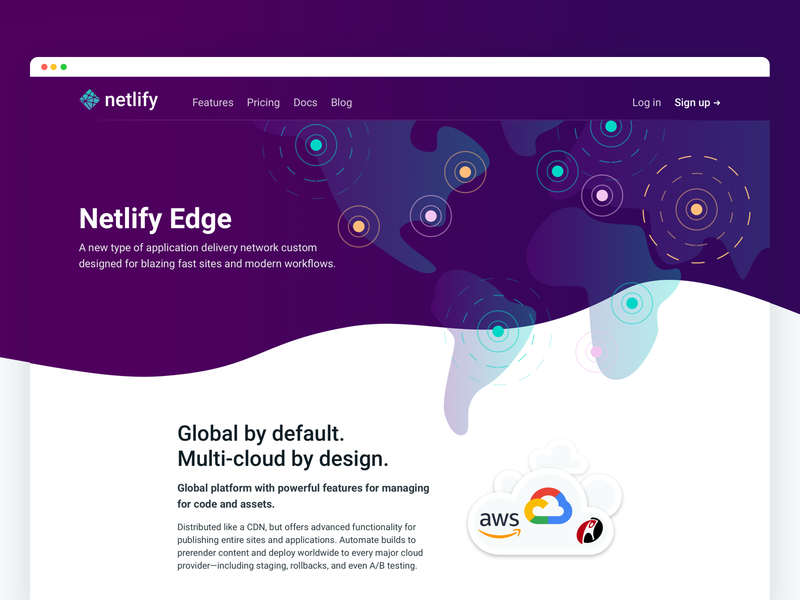 Netlify Edge: Marketing page world map marketing website wave illustration hero landing netlify