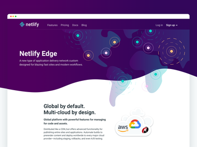 Netlify Edge: Marketing page world map marketing website wave illustration hero landing netlify