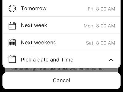 Snooze action sheet presets actionsheet menu snooze