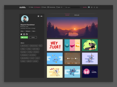 Dribbble Profile Page Dark Theme Redesign