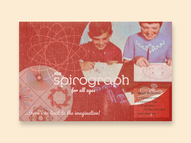 Vintage Spirograph Packaging texture spirograph vintage design board games layout typography