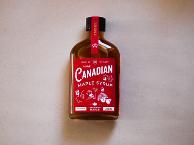 Canada West Maple canada canadian maple syrup maple food label illustration