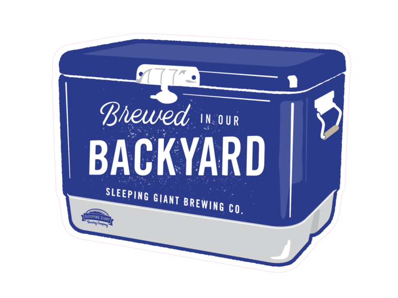 Brewed in our Backyard Cooler sticker badge beer canada branding vector logo illustration