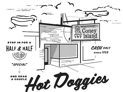 Coney Island - Hot Dogs hotel illustration clouds tshirtdesign tshirt art tshirts tee tshirt coney hotdog